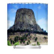 Wyoming Devils Tower With 8 Climbers August 7th 12 36pm 2016 With Inserts Shower Curtain