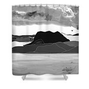 Wyoming Landscape 3 - B-w Shower Curtain