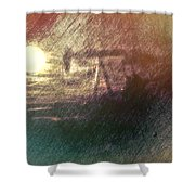 Wyoming Pump Jack Shower Curtain