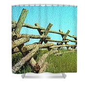 Wyoming Snow Fence Shower Curtain