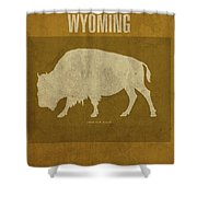 Wyoming State Facts Minimalist Movie Poster Art Shower Curtain