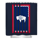 Wyoming State Flag Graphic Usa Styling Shower Curtain