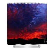 Wyoming Sunset On Fire Shower Curtain