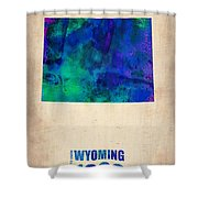 Wyoming Watercolor Map Shower Curtain by Naxart Studio