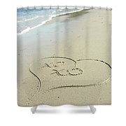Xoxo - Message Written In The Sand Shower Curtain