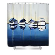 Yacht Harbor Shower Curtain by Han Choi - Printscapes