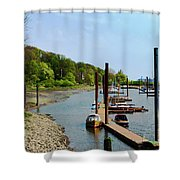 Yacht Harbor On The River. Film Effect Shower Curtain