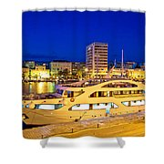 Yacht In Zadar Harbor Evening View Shower Curtain