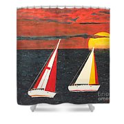Yacht Racing Shower Curtain