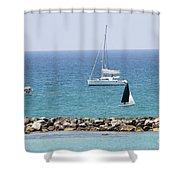 yacht sailing in the Mediterranean sea Shower Curtain