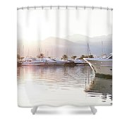 Yachts At The Sunset Shower Curtain