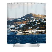 Yachts Docked At Port Skala Greece On Patmos Island Shower Curtain