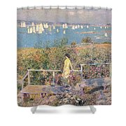 Yachts In Gloucester Harbor Shower Curtain by Childe Hassam