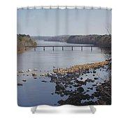 Yadkin Below High Rock Dam Shower Curtain