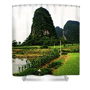 Yangshuo's Limestone Karsts Shower Curtain