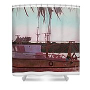 Yankee Town  Fishing Boat Shower Curtain