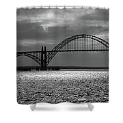 Yaquina Bay Bridge Black And White Shower Curtain