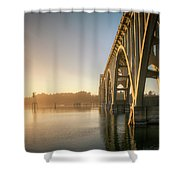 Yaquina Bay Bridge - Golden Light 0634 Shower Curtain
