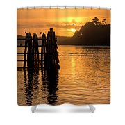 Yaquina Bay Sunset - Vertical Shower Curtain