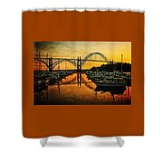 Yaquina Bay Reflections  Shower Curtain