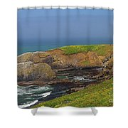 Yaquina Head Lighthouse And Bay Shower Curtain