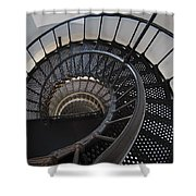 Yaquina Lighthouse Stairway Nautilus - Oregon State Coast Shower Curtain by Daniel Hagerman