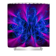Yarn In Space - Fractal Art Blue And Pink Shower Curtain