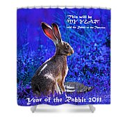Year Of The Rabbit 2011 . Square Blue Shower Curtain