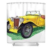 Yellow 1949 M G T C Midget Shower Curtain