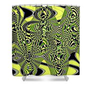 Yellow And Black #3 Abstract Shower Curtain