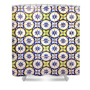 Yellow And Blue Circle Tile Shower Curtain