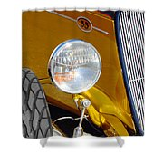 Yellow And Blue Hot Rod Headlight Shower Curtain