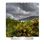 Yellow Flowers And Grey Clouds, Stormy Weather Over Sea In Scotland. Shower Curtain