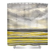 Yellow And Gray Seascape Art Shower Curtain