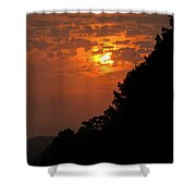 Yellow And Orange Sunset With Tree Silhouette On Bottom And Right Shower Curtain