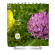 Yellow And Purple Flowers Shower Curtain