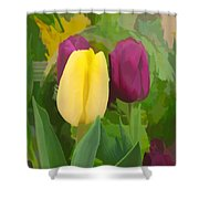 Yellow And Purple Tuilps Shower Curtain