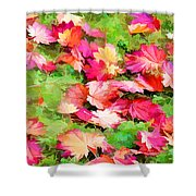 Yellow And Red Fall Maple Leaves Shower Curtain