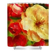 Yellow And Red Floral Delight Shower Curtain