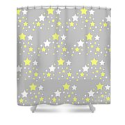 Yellow And White Stars On Grey Gray  Shower Curtain