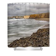 Yellow Bank Cliffs Shower Curtain