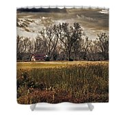 Yellow Barn And The Field Shower Curtain
