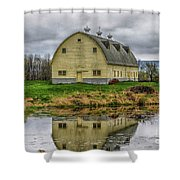 Yellow Barn Shower Curtain
