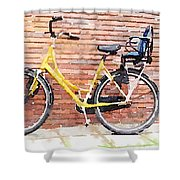 Yellow Bicycle Digital Watercolour Shower Curtain
