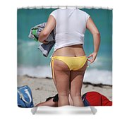 Yellow Bikini Bottom Shower Curtain