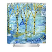 Yellow Birches Shower Curtain