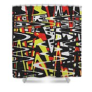 Yellow Black Red White Drawing Abstract Shower Curtain