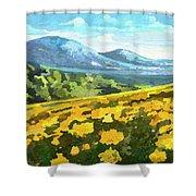 Yellow Blanket Shower Curtain