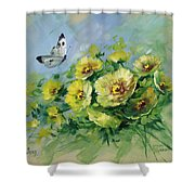 Yellow Blossoms And Butterfly Shower Curtain