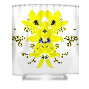 Yellow Blue Blossoms Shower Curtain